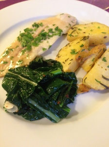 Sole Meunière with Dino-Kale and Potatoes